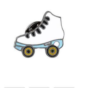 White Roller Skate Pin Brooch